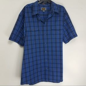 Other - FOUNDRY SUPPLY CO Blue Plaid Button Shirt Tall